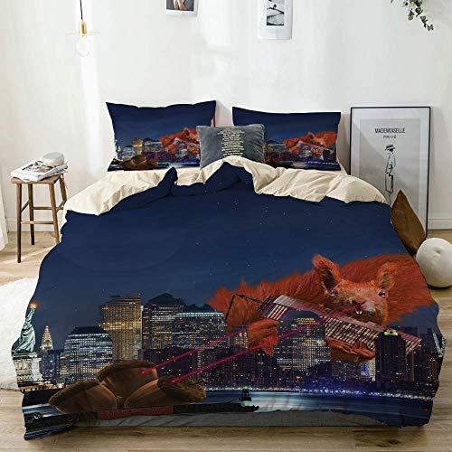 Juego de funda nórdica beige, dibujos animados como el paisaje de la ciudad de Nueva York con una gran imagen de ardilla linda con ojos láser, juego de cama decorativo de 3 piezas con 2 fundas de almo