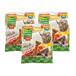(3 Pack) Nylabone Healthy Edibles Wild Flavors Dog Chew Treat Bones for Small Dogs up to 25 Pounds Wild Bison 16 Count