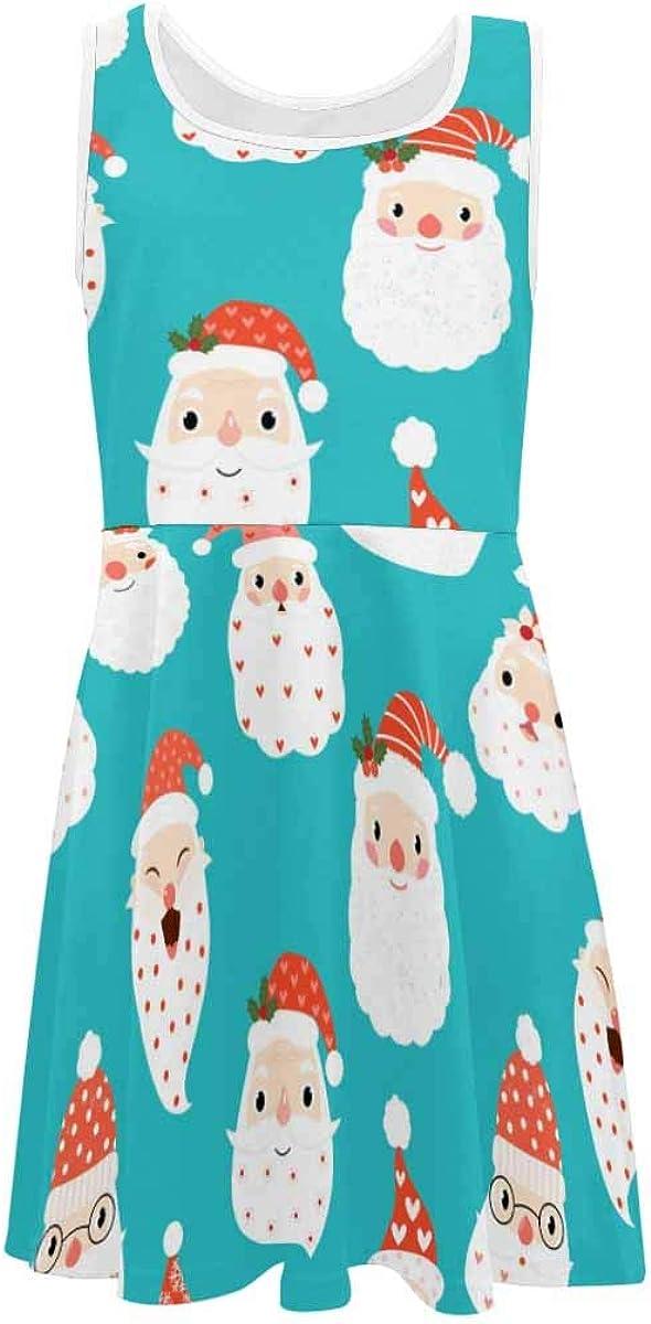 INTERESTPRINT Girls Dress Casual Sleeveless Dress Daily Wearing Birthday Party Dress Santa Heads for Christmas S