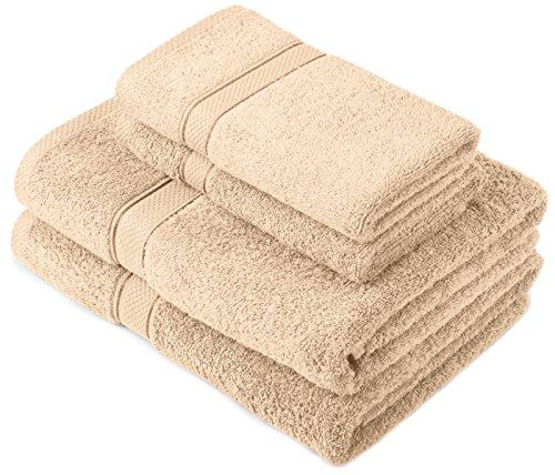 Pinzon by Amazon - Juego de toallas de algodón egipcio (2 toallas de baño y 2 toallas de manos), color beige