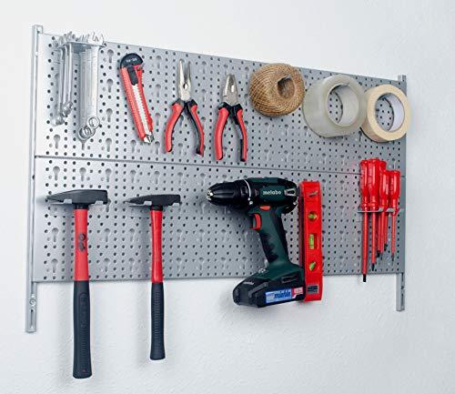 Element System 18133-00421 Werkzeugwand aus Metall Plus 18 teiliges Werkzeughalterset inklusive Schrauben und Dübel, Lochwand zur Werkzeugaufbewahrung weißalu, Werkbankzubehör