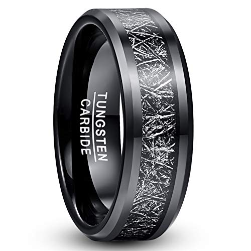 TUNGSTORY 8mm Schwarz Wolframcarbid Ehering für Herren Imitierter Meteorit Inlay Ring mit abgeschrägter Kante und komfortabler Passform 54 (17.2)