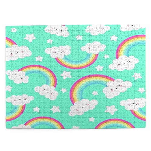 500 piezas rompecabezas para niños 52*38 cm madera lindo fondo de la nube con arco iris patrón sin costuras juguete regalo para niña niño niños adultos