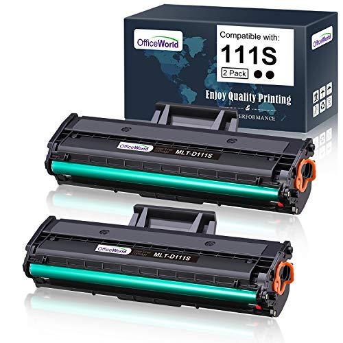 OfficeWorld Compatible 111S Toner Cartridge Replacement for Samsung 111S 111L MLT-D111S MLT-D111L (Black, 2 Packs), Compatible with Samsung Xpress SL-M2020W SL-M2020 SL-2022FW SL-2070FW SL-2070W