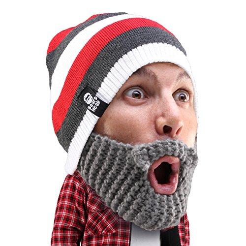 Beard Head Stubble Cruiser Beard Beanie - Funny Knit Hat and Fake Beard Facemask Grey