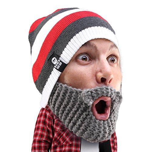 Beard Head Stubble Cruiser Beard Beanie - Funny Knit Hat and Fake Beard Costume Grey