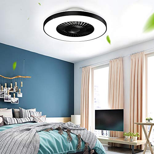 DLLT Modern Ceiling Fans with Lights, 40W Led Dimmable Ceiling Fan with Remote, 7 Invisible Blades Semi Flush Mount Ceiling Fan Light, 3-Speed Indoor Low Profile Ceiling Fan, 3000K-6500K Timing