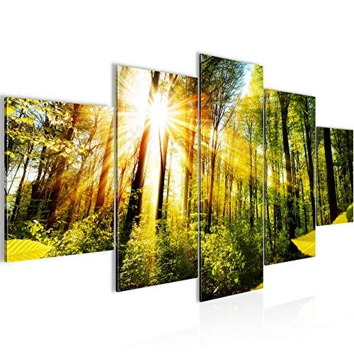 Runa Art - Bilder Wald Landschaft 200 x 100 cm 5 Teilig XXL Wanddekoration Design Grün 024251a