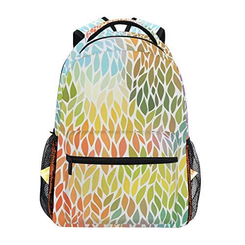 QMIN Sac à dos avec motif de feuilles colorées, sac à dos d'école, sac à dos pour ordinateur portable, randonnée, camping, sac à bandoulière pour garçons, filles, femmes, hommes