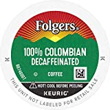 Folgers Decaf 100% Colombian Coffee, Medium-Dark Roast, K Cup Pods for Keurig K Cup Brewers, 12-Count (Pack of 6)