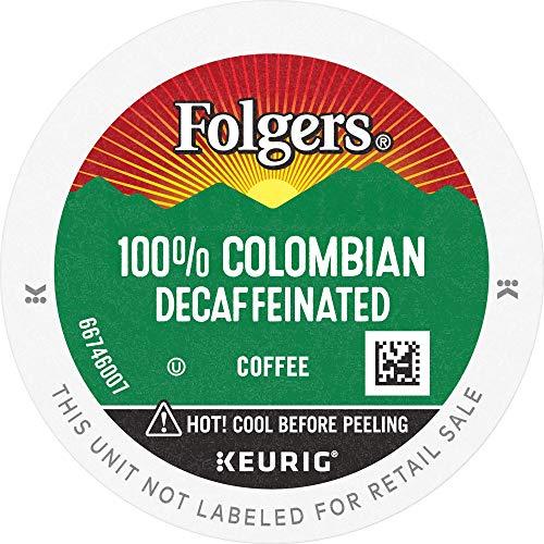Folgers 100 Colombian Coffee Keurig KCup Pods, Medium Roast Decaf, 72 Count