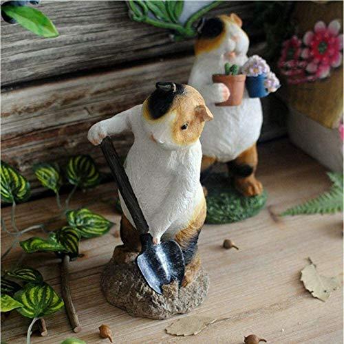 FGVBC Sculptures Garden Ornaments Cute Guinea Pig Gardener Waterproof Resin Garden Statue For Yard Lawn Decoration Gift -9 * 8 * 19cm (Color : A) (Color : B)