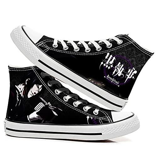 MAZF Zapatos de Lona Black Butler High Gang Unisex Cosplay Zapatos Casuales De Zapatillas con Cordones-39