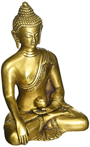 SouvNear Thai Buddha in Meditazione Peace Harmony Statue, [Dhyana Mudra] Religious Decor a Mano in Ottone Antico Look Shakyamuni Scultura Statuetta [15,2cm Large/Peso 1Kilogram]