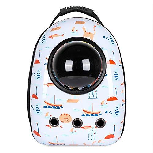 Space Capsule Pet Travel Rucksack, tragbarer belüfteter Handgepäckrucksack, luftfahrtgeprüfter belüfteter transparenter Kapselrucksack, geeignet für Reisen, Wandern und den Einsatz im Freien