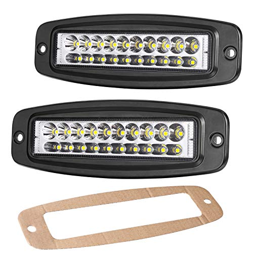 OFFROADTOWN Flush Mount LED Pods, 2Pcs 7'' 80W Off Road Driving Lights Spot LED Work Light Flush LED Light Bar Super Bright Fog Lights for Truck Boat 4x4 Boat Grill Mount