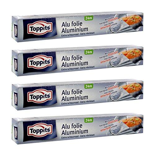 Toppits Alufolie Doppel-Kraft-Waben (24m x 29.5cm), 4er Pack (4 x 24 Meter)