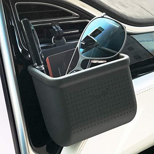 Car Air Vent Storage Bag Organizer Pocket Sunglass Holder Car Mount Phone Holder Coin Key Card Case Organizer with Hook- Black