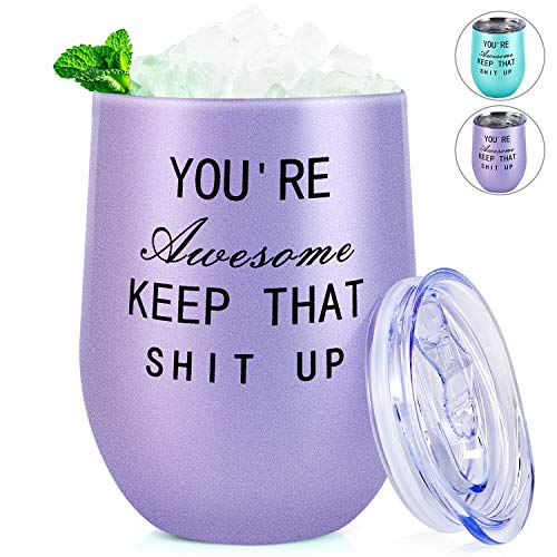 Thank You Gifts Graduation Gifts Presents for College Wine Tumbler You're Awesome Keep That Shit Up Funny Birthday Gifts for Women Friends Coworker Teacher Wife Sister 12oz