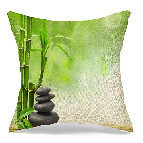 Decorative Linen Throw Pillow Cover Balance Spa Freshness Asian Concept Zen Mat Border Basalt Stones Nature Therapy Rock Stone Tree Soft Cushion Covers 16 x 16 Inches for Bed Car Couch Sofa
