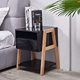TaoHFE End Table with Drawer 3-Tier, Nightstand Bedside Table for...