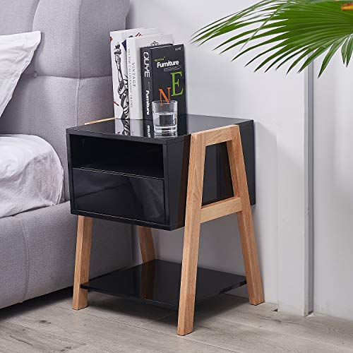 TaoHFE End Table with Drawer 3-Tier, Nightstand Bedside Table for Bedroom Living Room, Black
