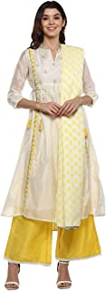 STOP by Shoppers Stop Womens Mandarin Collar Embroidered Palazzo Suit