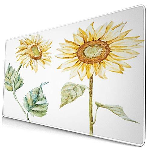 Extra Groß Spiele Mauspad mit Genähten Kanten,Aquarell Mode helle Sonnenblumen,Rutschfest Gummibasis Computer Tastatur Matte,29.5