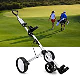 Golf Push Carts 3 Wheel Folding, Golf Push Pull Cart Trolley Compact Golf Cart Collapsible Lightweight Pushcart with Foot Brake Scoreboard, Golf Carts for Youth Golf Clubs Game Golf Course