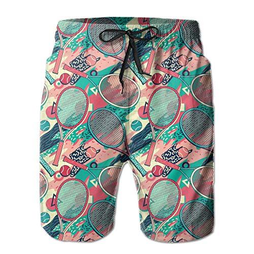 SHBD Colorida Raqueta y Pelota de Tenis Pantalones Cortos de Playa para Hombre Pantalones Cortos deportiv M