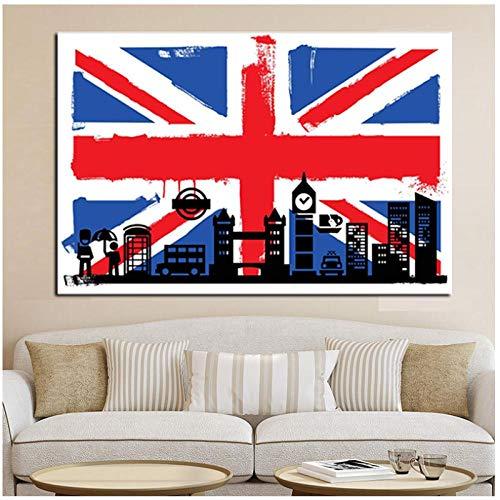 QYH HD-Druck London Flagge von Briten mit Big Ben abstrakte Ölgemälde auf Leinwand Moderne Wandkunst Bild für Wohnzimmer Sofa Poster-60X80 cm ungerahmt