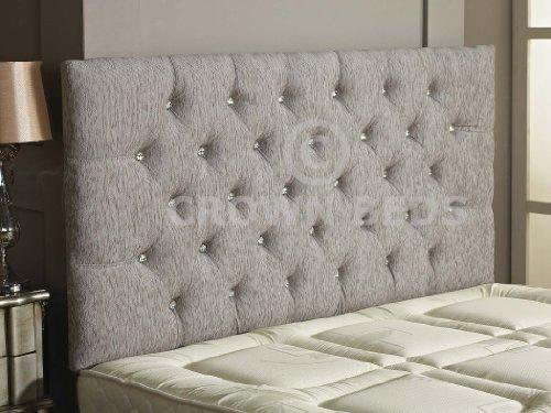 Cabecero para cama Chesterfield, diseño de botones de diamante, terciopelo, gris claro, 1,52 m (King Size) botón diamante
