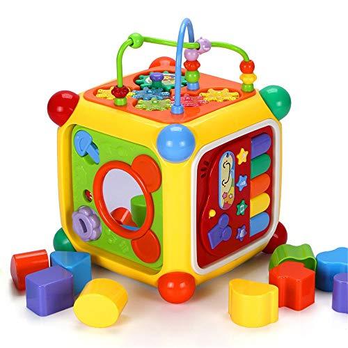 XMSIA Laberinto Multifunción Niño del bebé Actividad Cubo Juego Interactivo de Aprendizaje Educativo Centro de Juguete de Regalo for los niños pequeños Actividad de Madera Cube Toy