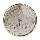 aoixbcuroc - Barómetro 3 en 1 con termómetro higrómetro, estación meteorológica para interior y exterior, medidas simplicidad y fácil lectura (dorado)