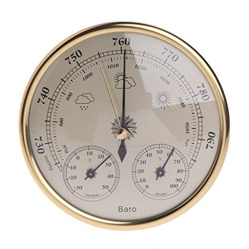 Hergon Analoge Wetterstation, Barometer, Thermometer, Hygrometer, Wand befestigter Haushalts Barometer
