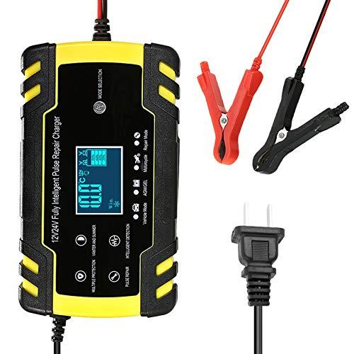 JEOSNDE Totalmente automático de la batería del Cargador del Coche 12V 8A 24V 4A Inteligente de Carga rápida de Plomo ácido Cargador de batería Pantalla LCD (Color : Style B US Plug)