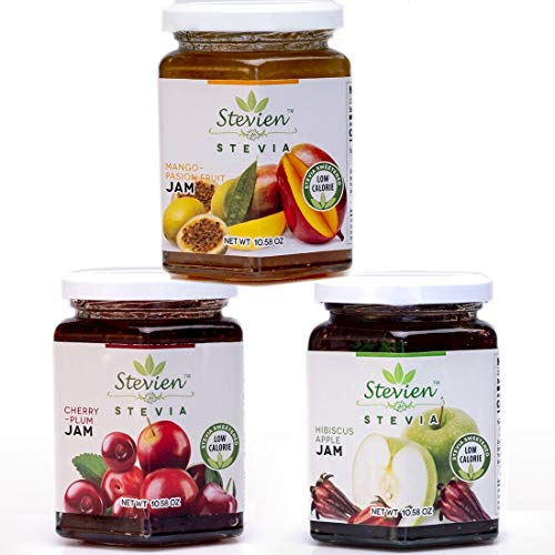Stevien Jam Collection (3 Jars) | Made With Organic Stevia | Low Calorie | Vegan, Nut-Free and Gluten Free | 100% Natural | Cherry-Plum, Hibiscus-Apple, and Mango-Passion Fruit