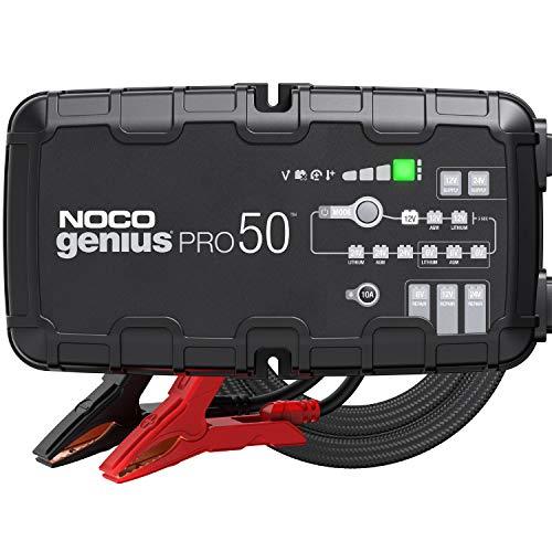 NOCO GENIUSPRO50, Inteligente Totalmente automático de 50A, Cargador 6V, 12V y 24V, mantenedor de batería, Fuente de alimentación y desulfatador con compensación de Temperatura