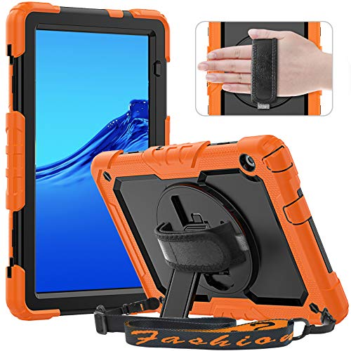 Timecity Schutzhülle für Huawei Mediapad T5 10.1 Zoll 2018, Full Body Protective Shockproof Tablet Cover mit Bildschirmschutzfolie, 360° drehbarer Ständer, Hand/Schultergurt für Huawei T5, Schwarz/Orange