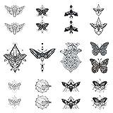SanerLian Butterfly Temporary Tattoo Sticker Moth Insect Fake Tatoo Women Girls Chest Back Arm Body Art 10.5X6cm Set of 12