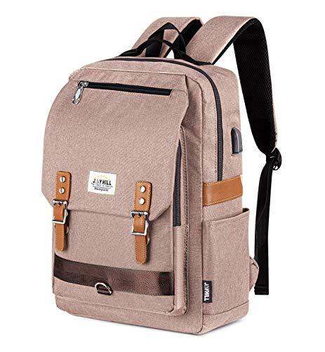 College Vintage Backpack Fashion 15.6' Laptop Rucksack with USB Charging(Khaki)