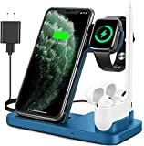 Powlaken Wireless Charger, 4 in 1 Wireless Charging Station Dock for Apple iWatch Series Se 6 5 4 3 2 1, AirPods Pro and Pencil, Charging Stand for iPhone 11, 11 Pro max, Xr, Xs max, X(Blue)
