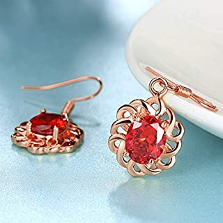 Home Fashion Party Earrings Exquisite Zircon Earrings (Color : Silver) Earrings Gift (Color : Rose)