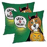 Batmerry Lustiger Hund dekorative Kissenbezüge, 40,6 x 40,6 cm, Halloween-Beagle, doppelseitig,...