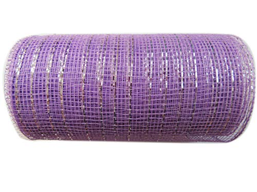 6 inch x 30 feet(10 Yards)-YYCRAFT Metallic Deco Poly Mesh Ribbon(Lavender)