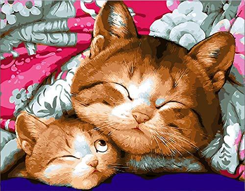 Pintar por Numeros para Adultos y Niños, Madre gata y bebé gato DIY Pintura por Números con Pinceles y Pinturas Decoraciones para 40 x 50 cm Sin Marco