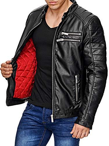 Red Bridge Hombres Chaqueta Cuero Sintético Transición Moda Cuero Jackets Negro (Ropa)