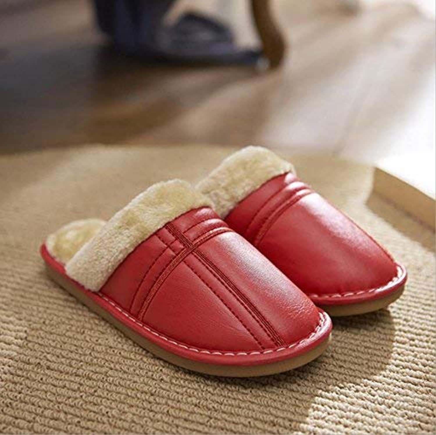 JaHGDU Ladies Thermal Slipper Casual Faux-Leather Slippers Large Size Super Soft Plush Home Indoor Wear-Resistant Classic Slippers