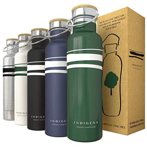 INDIGENA - Borraccia Termica Acciaio Inox 350ml/500ml/650ml, PIANTA Un Albero a Bottiglia Termica, Verniciatura Soft Touch, Thermos Doppia Parete per