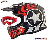 3GO X15 KINDER ROT MOTORRADHELM STREIFEN STERN MOTOCROSS MX QUAD ENDURO ATV MTB BMX FAHRRAD MIT ROTER BRILLE